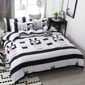 Image 2 - Funbaky 3/4pcs/Set Purple Cartoon Cloud Cotton Comforter Kids Bedding Set Pillowcase/Bed Sets Bed Linen No Filler Home Textile