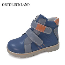 цена на Kids Baby Toddler Orthopedic Shoes Children Leather Boot Orthopedic Shoes Spring Autumn Fashion Blue School Shoes for Kids