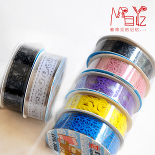 1Pcs New DIY Lace Mini Candy Color Flower Washi Tapes Masking Tape Decorative Adhesive Tapes School Supplies E0423