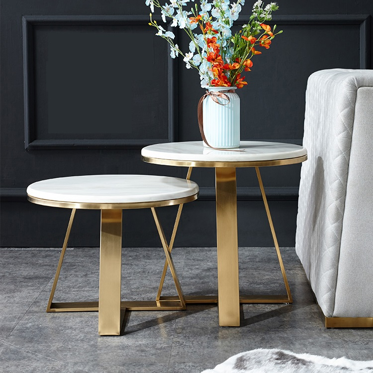 Nordic marble side round table angle post modern light luxury living room stainless steel gold plated small coffee table in Coffee Tables from Furniture