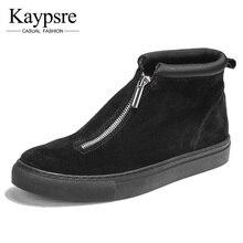 Kaypsre winter zip high-help board shoes men's genuine leather casual Fashion wear-resistant single