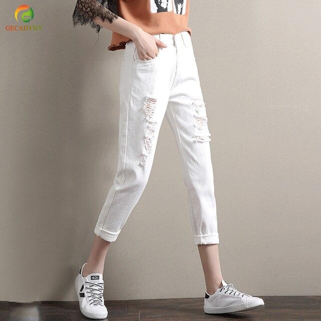 88fb6e417e Jesień Luźne Białe Spodnie Boyfriend Jeans Dla Kobiet Kobiet Połowie Talii Spodnie  Jeansowe Harem Kobiece Spodnie