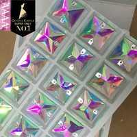 Di cristallo Castello 4A Vetro Cucire Pietra 3240 Piazza Vestiti Da Sposa Strass Bianco Trasparente di Cristallo AB Strass Cuce Sul Strass