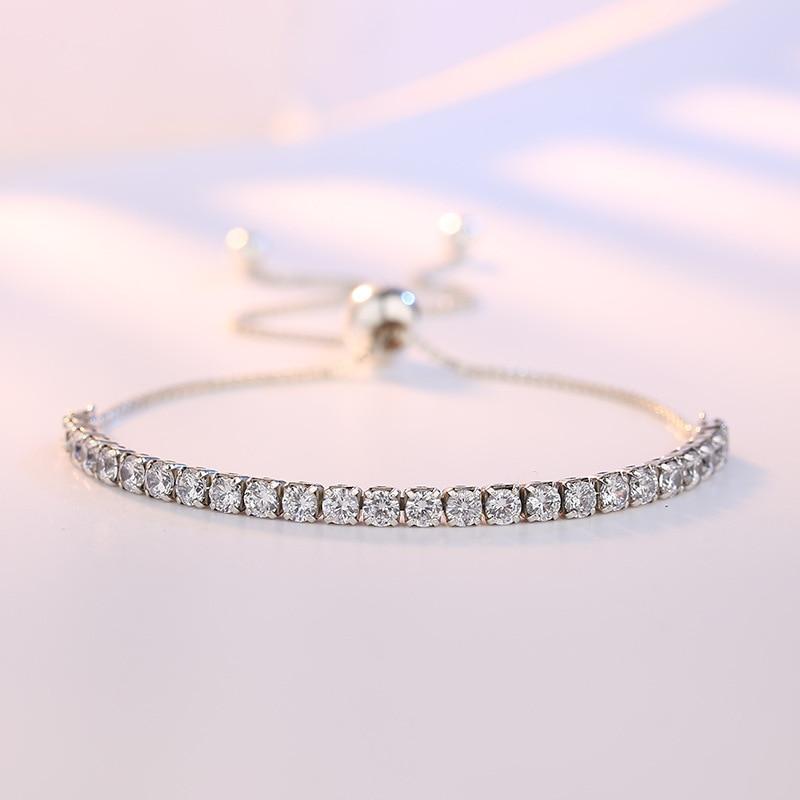 XIYANIKE Featured Brand DEALS 925 Sterling Silver Sparkling Strand Bracelet Women Link Tennis Bracelet Silver Jewelry VBS4087 2