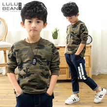Kids font b sweater b font 2018 new autumn children s shirt thickened baby hole camouflage
