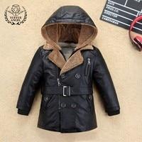 Популярная зимняя куртка из искусственной кожи для мальчиков, длинное пальто для девочек, плотная теплая детская верхняя одежда, пальто с п