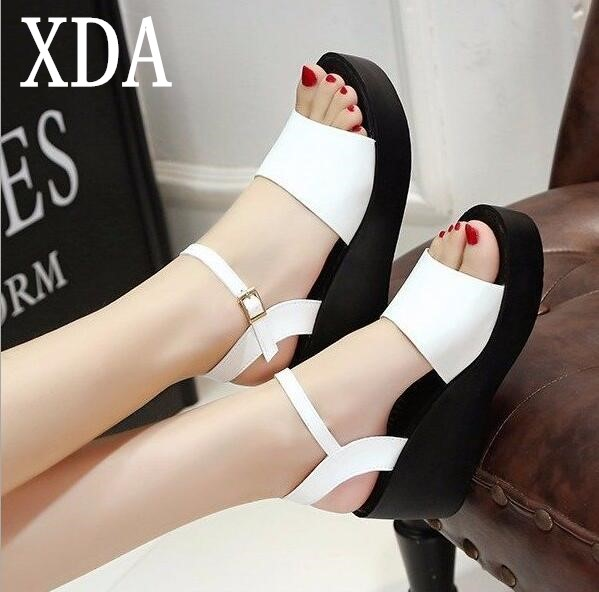 b22e69764 XDA Woman Sandals 2018 Summer Women Concise Platform Open Toe Casual Shoes  Woman Fashion Thick Bottom Wedges buckle Sandals F142