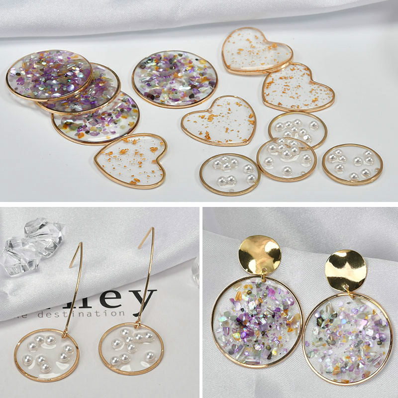 DIY accessories, Heart Shaped Pearls, Color Shells, Round Alloy, Epoxy, Korean, Quality, Earrings material title=