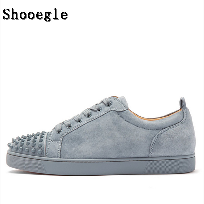 SHOOEGLE Fashion Luxury Spikes Men Shoes Rivets Casual Suede Platform Sneakers Mens Low-Top Lace-up High Quality Motorcycle Shoe lace insert high low tank top