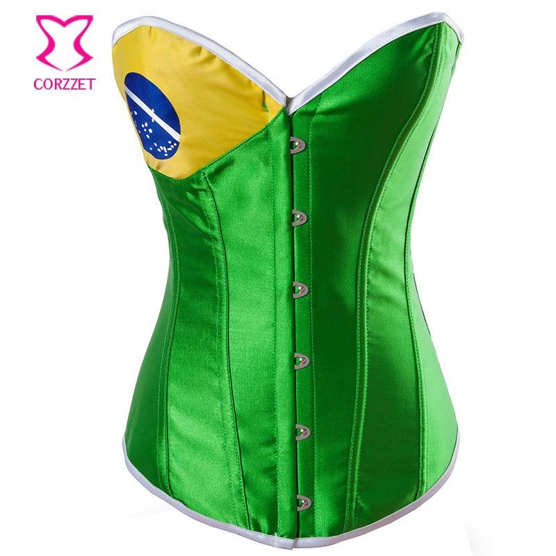 Corzzet Brazil Flag Corset Metal Boned Yellow and Green Satin Fashion Women's Gothic  Clothing
