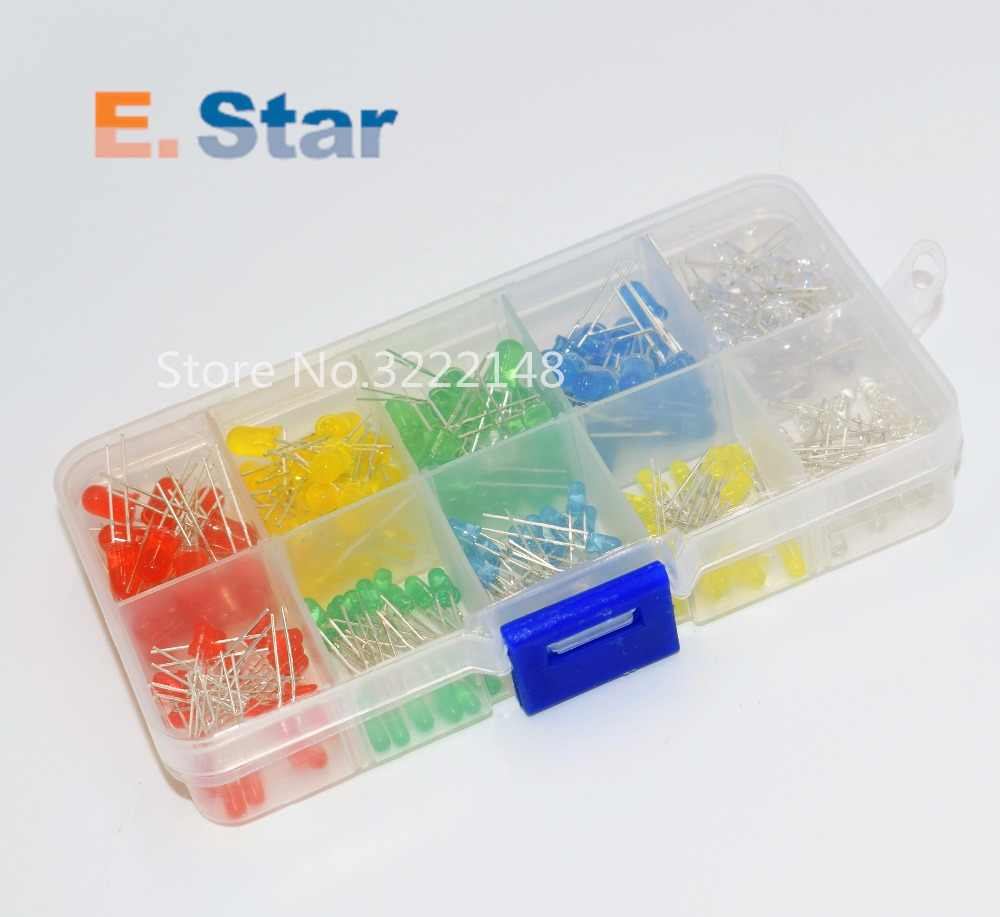 200PC/Lot 3MM 5MM Led Kit With Box Mixed Color Red Green Yellow Blue White Light Emitting Diode Assortment 20PCS Each New