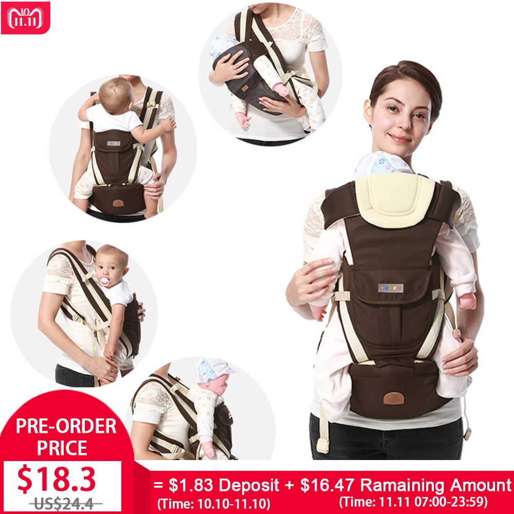 (11.11 Pre-order) Ergonomic Baby Carrier Backpack Breathable Bebe Kangaroo Hipseat Mochila Toddler Infant Sling Waist Stool baby carrier chicco sling portable child suspenders backpack thickening shoulders kangaroo bebe mochila infantil mochila