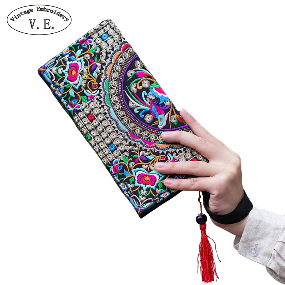 New National Ethnic Women Embroidery Wallet Double Side Embroidered Flower Coins Purse Bags Women's  Small Handbag Clutch Bag national trend women handmade faced flower embroidered canvas embroidery ethnic bags handbag wml99