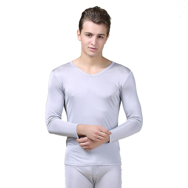 100% pura seda de la alta calidad de los hombres calzoncillos largos elástica cuello en v underwear sets transpirable antibacteriano cómodo otoño trajes