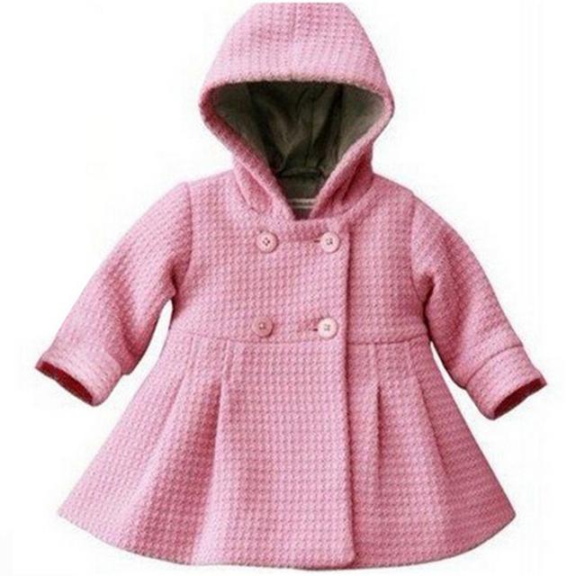 10-24months Moda Quente Do Bebê Menina Rosa Casaco Sobretudo Topcoat Casacos de Inverno Infantil Do Bebê das Crianças Outono Roupa Do Bebê Recém-nascido