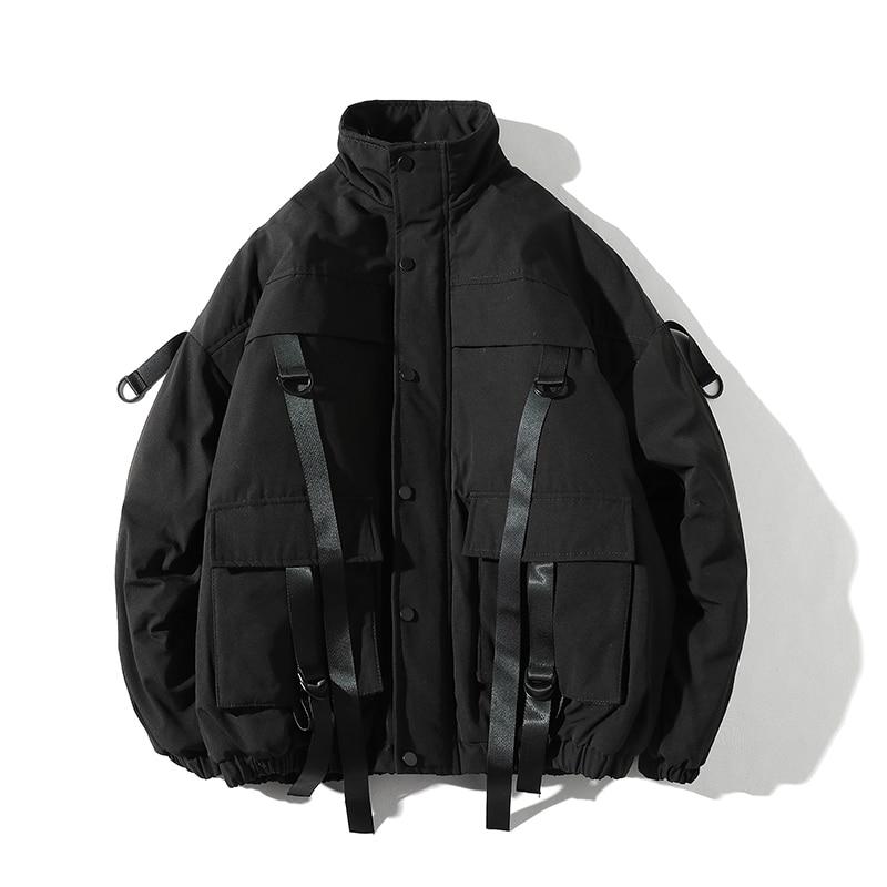 New Ribbons Pockets Winter Jacket Men Thick Hip Hop Streetwear   Parka   Men Coats Casual Padded Men's Jackets Male Clothing US Size
