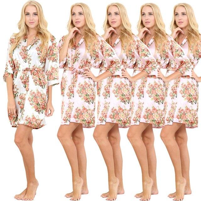 5 Piece Women Satin Floral Robe Wedding Silk Bathrobe Short Style Pajamas Kimono Nightgown