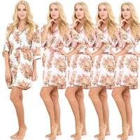 5 Piece Women Satin Floral Robe Wedding Robe Silk Bathrobe Short Style Pajamas Kimono Robe Nightgown Sleepwear Dressing Gown