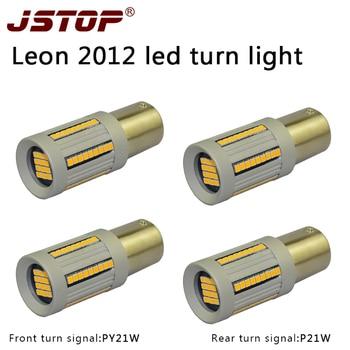 JSTOP 4PCS/set Leon 2012 Turn Signal lights 100%no error 12-24VAC canubs P21W PY21W 1156PY No Hyper Flash Front Rear Turn Signal