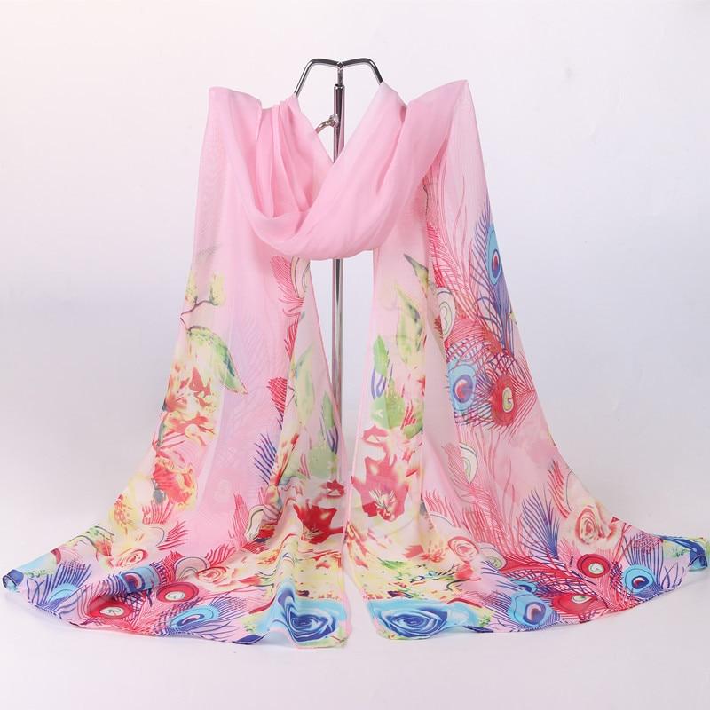 Silk Scarf Printed Chiffon Wholesale Women New Thin With Long-Decorative 2009