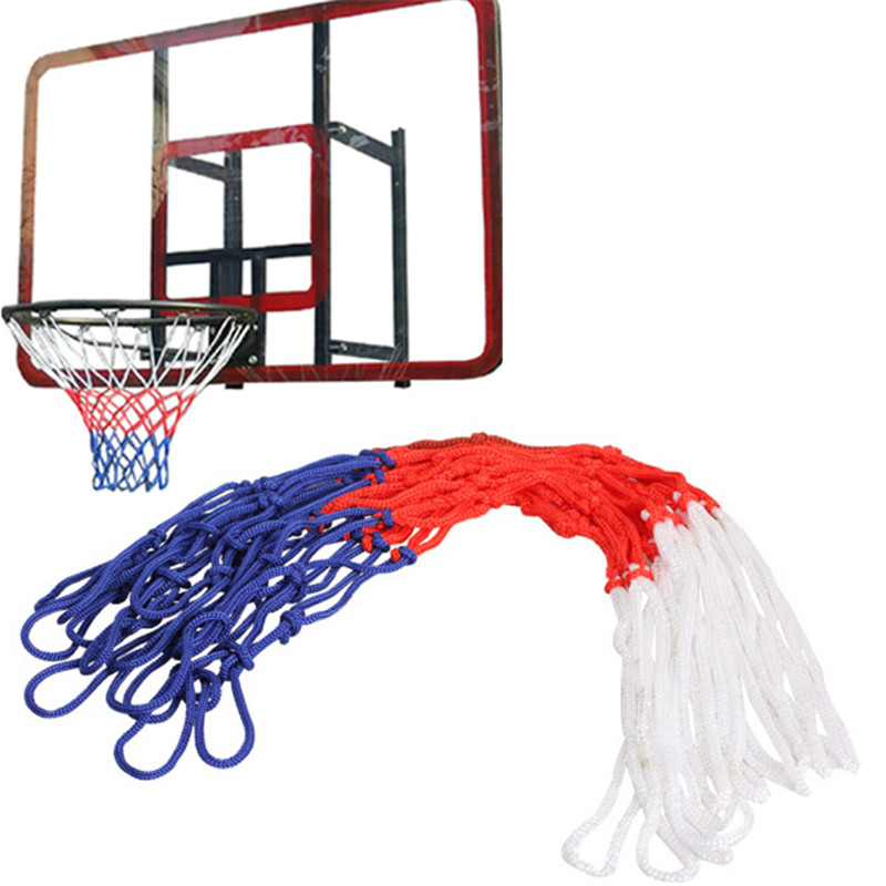 Standard Nylon Basketball Net Thread Sports Basketball Hoop Mesh Backboard Rim Ball Pum 12 Loops White Red Blue