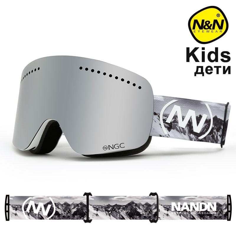NANDN NEIGE enfants lunettes de Ski Anti-Buée Double couche lentille Double couche lentille