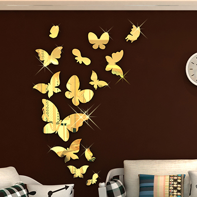 New arrival Mirror Butterfly Acrylic-dimensional wall stickers Kids Room Walls Romantic 3d decoration silver gold color