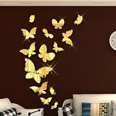 Nouvelle arrivée Miroir Papillon Acrylique-dimensions stickers muraux Enfants Chambre Murs Romantique 3d décoration argent or couleur
