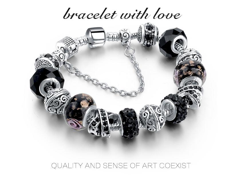 CHICVIE Black Crystal Chain Link Bracelets For Women Female Charm Custom Bracelets & Bangles DIY Silver Color Jewelry SBR160014 3