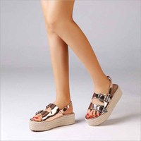 Women Shoes Summer Wedge Espadrilles Women Sandals Peep Toe Gladiator Sandals Lady Casual Shoes Women Platform Sandals 2019 New