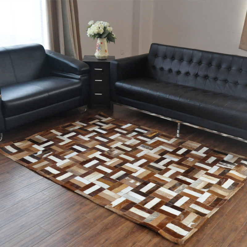 Fashionable art carpet 100% natural genuine cowhide leather machine washable kitchen rugFashionable art carpet 100% natural genuine cowhide leather machine washable kitchen rug