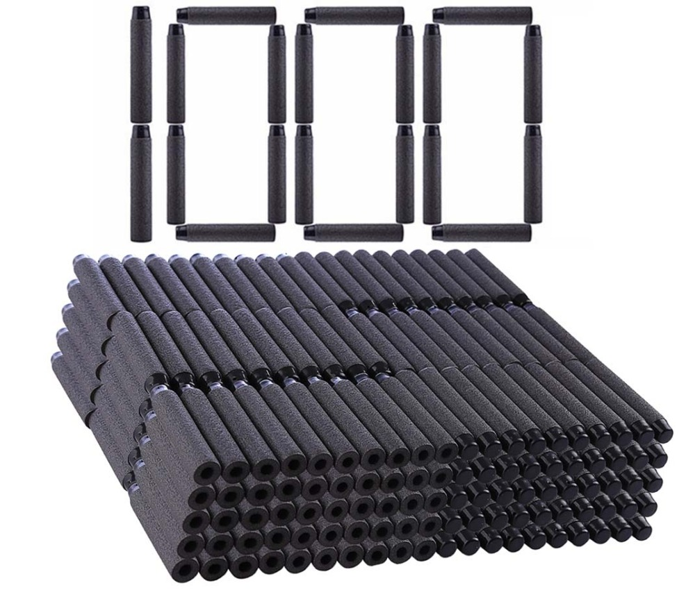 1000pcs For Nerf Bullets For Nerf Toy Gun Soft Black Bullets For Nerf Accessories Darts Hollow Hole Head Foam Bullet