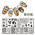 1Pc Nail Stamping Plate Cinema Moive Time Manicure Rectangle Image Plate Nail Art Stamp Template L043