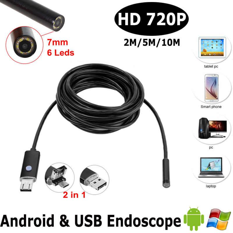 7mm Dia USB Endoscope Cmos 1m 2m 5mLong Cable Waterproof 6led Borescope Endoscope Inspection Car Visual Camera Copper Pipe Video eyoyo nts200 endoscope inspection camera with 3 5 inch lcd monitor 8 2mm diameter 2 meters tube borescope zoom rotate flip
