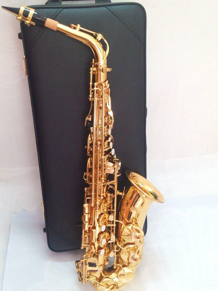 High Quality Saxophone Alto Sax  Professional E flat  Electrophoresis Gold Saxofone Top Musical Instruments Free performances alto sax saxophone eb wind instrument sax saxophone alto western instruments saxofone musical instruments saxophone