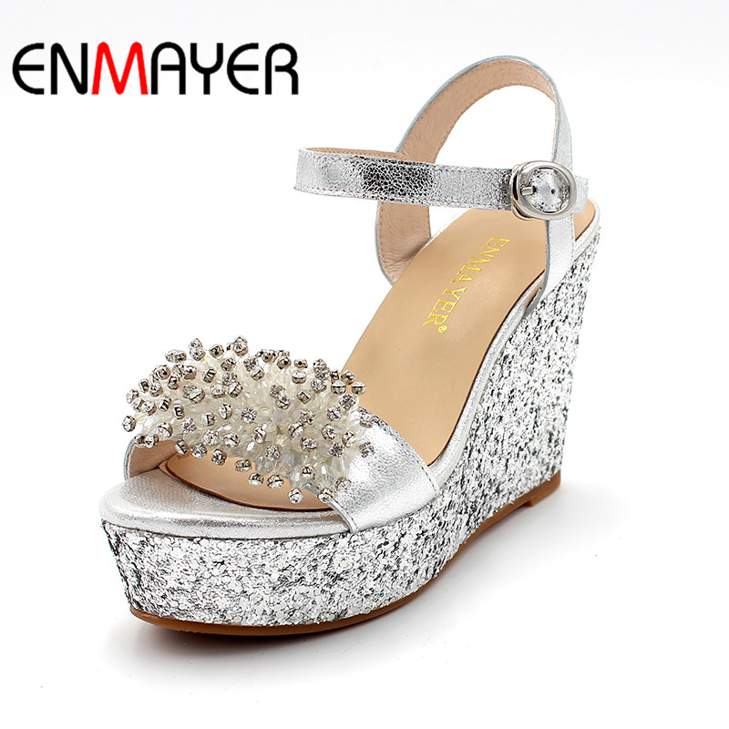 ENMAYER Fashion Women Sandals Buckle Strap Party Sandals Ankle Strap Crystal Sandals Solid Wedge New Style Silver SandalsENMAYER Fashion Women Sandals Buckle Strap Party Sandals Ankle Strap Crystal Sandals Solid Wedge New Style Silver Sandals