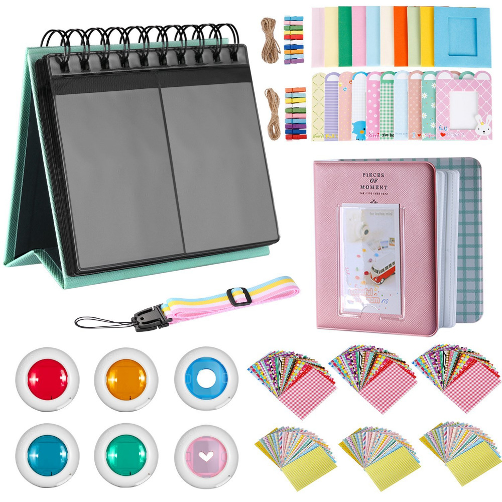 Neewer 35 in 1 Accessory Kit for Fujifilm Instax Mini 9 8 8+ 7S 70 25 90:Table Album+Adjustable Strap+Frames+Book Album+Filters