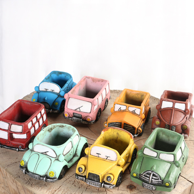 Nicole Silicone Concrete Mold For Handmade Flowerpot Cartoon Cars Shape Cement Mould