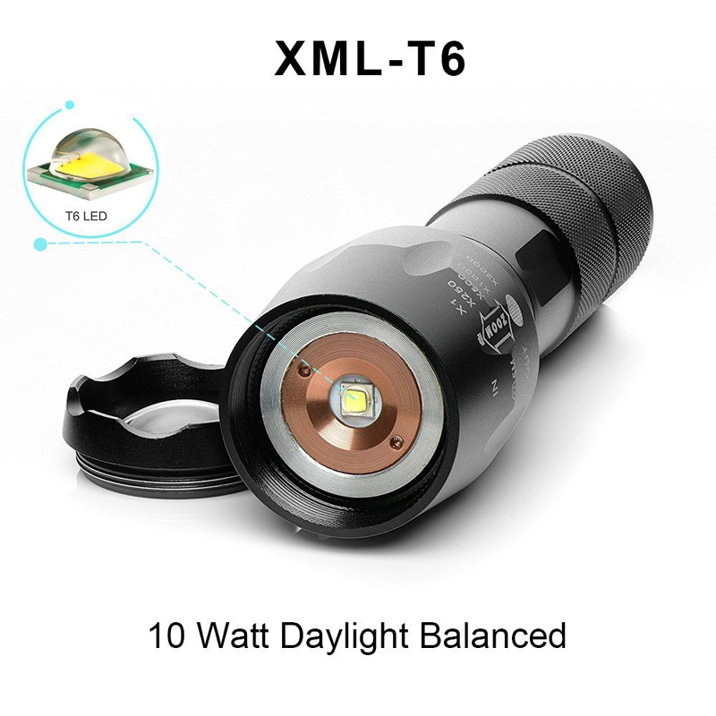 Big Promotion Ultra Bright CREE XM-L T6 LED Flashlight 5 Modes 4000 Lumens Zoomable LED Torch 18650 Battery + Charger + Box