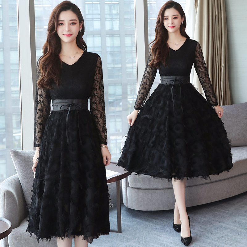 2019 Autumn Winter New Plus Size Vintage Lace Evening Midi Dresses Women Bodycon Korean Black Dress Long Sleeve Runway Vestidos