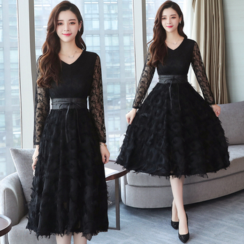 2019 Autumn Winter New Plus Size Vintage Lace Evening Midi Dresses Women Bodycon Korean Black Dress Long Sleeve Runway Vestidos