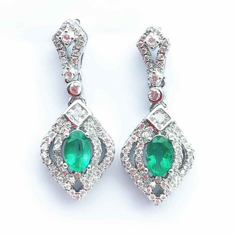925 sterling silver Natural Emerald drop earring lassic fine Jewelry women wedding women wholesale