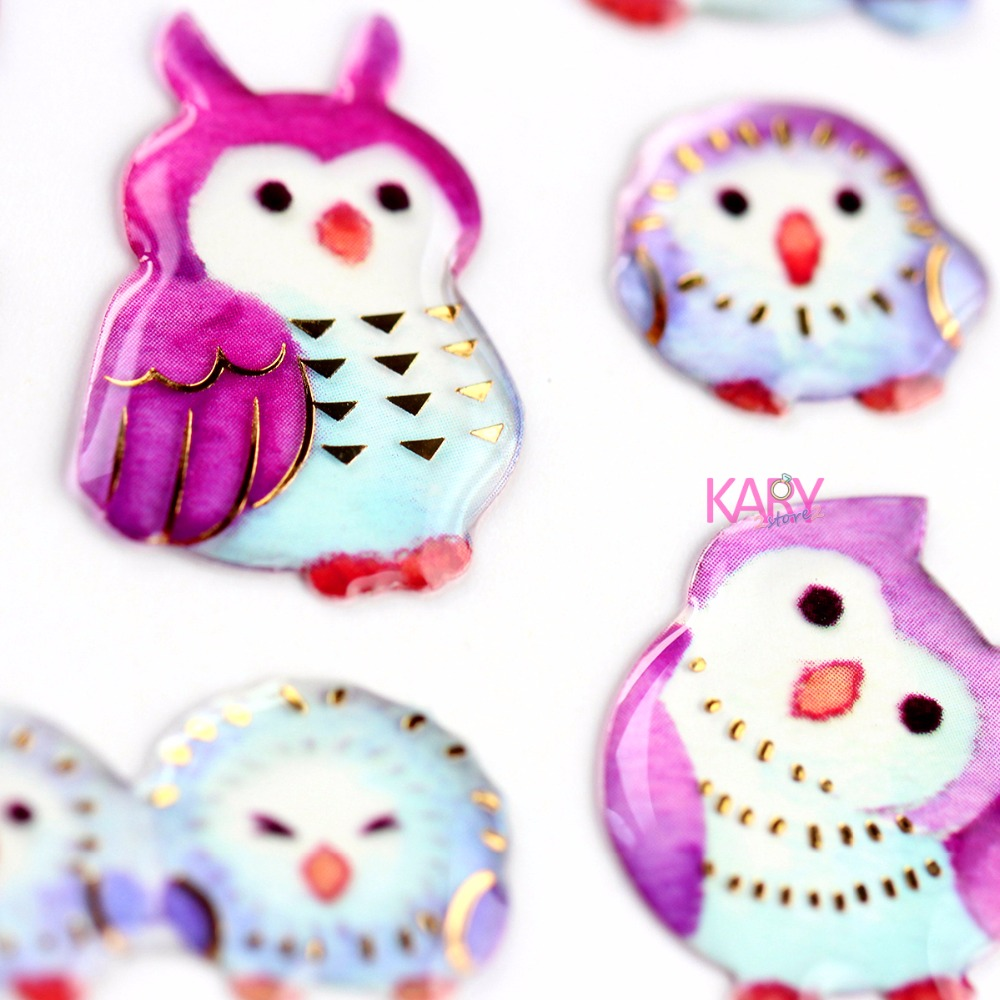 Cute Owls Watercolour Painting Glitter Shiny Gilded Crystal Scrapbooking Stickers Accessory Toys For Children Diary Stationery