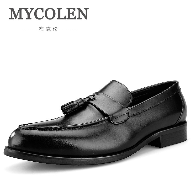 MYCOLEN New Luxury Brand Men Fashion Casual Shoes Tassel Breathable Men Wedding Shoes Men's Loafers Sapato Masculino Social 2017 new spring imported leather men s shoes white eather shoes breathable sneaker fashion men casual shoes