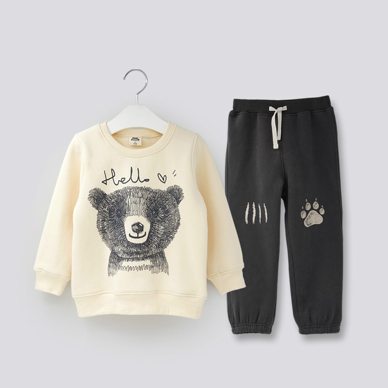 Children Boys Girls Clothing Set Autumn Winter Kids Thickening Warm Cartoon Sweater+Pant Two-piece Sport Suits Children Clothes kids boys autumn clothing set new children spring and autumn leisure sport long sleeved two piece 5 8 10 12 age kids coat pants