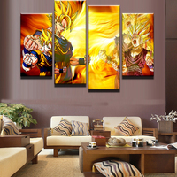 4 Panel Dragon Balls Modular Picture Animated Cartoon Characters Modern Home Wall Decor Canvas Picture Art