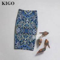 KIGO 2016 Summer Women Ethnic Painting Print Midi Pencil Skirts Back Split High Waist Wrap Sexy