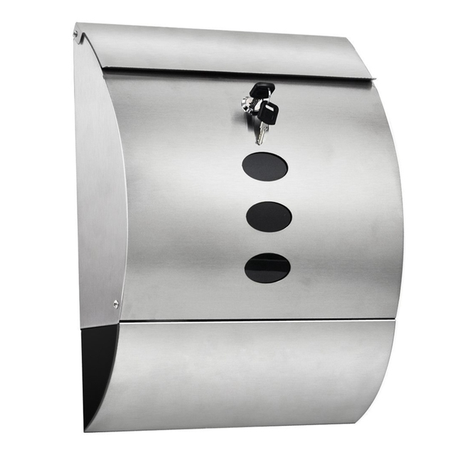 Waterproof Stainless Steel Lockable Mailbox & Newspaper Holder Outdoor Mail/Post/Letter Box Silver