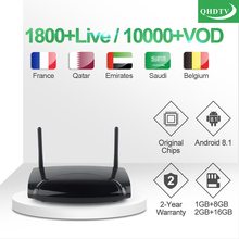 IPTV France Leadcool R2 Box 1 year QHDTV French Arabic FULL HD TV Android 8.1 Belgium Qatar Morocco Subscription