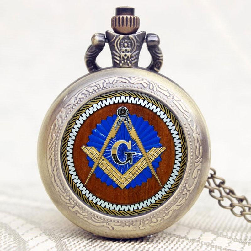 Glass Dome Design Masonic Freemason Freemasonry Theme Pocket Watch With Chain Necklace  Items